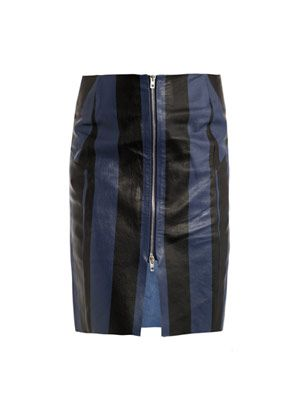 Voila stripe-print leather skirt