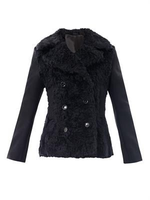 Edge wool fur peacoat