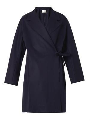 Ember wool wrap-coat