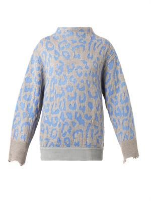 Mist animal-jacquard sweater