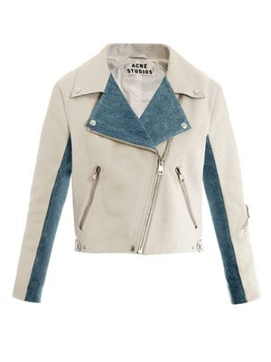 Rita leather and denim jacket