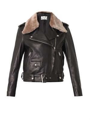 Mape shearling-trimmed leather jacket