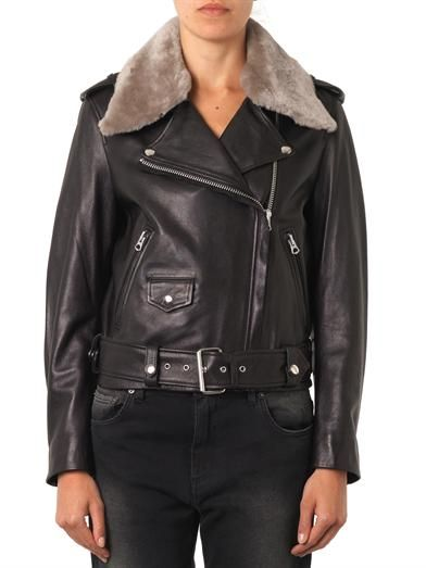 Acne Studios Mape shearling-trimmed leather jacket
