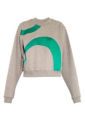 Bird satin-appliqué jersey sweatshirt