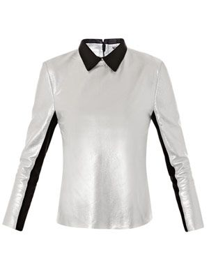 Lydia metallic leather top