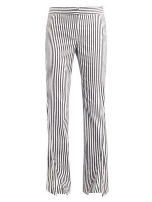 Liz stripe-print trousers
