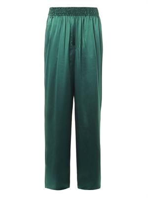 Heart silk-satin trousers