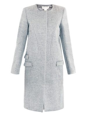 Bi-colour collarless coat