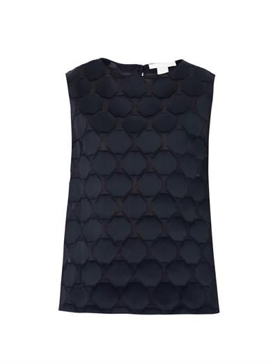 Antonio Berardi Honeycomb textured silk-blend blouse