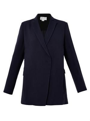 Double-layer front crepe blazer