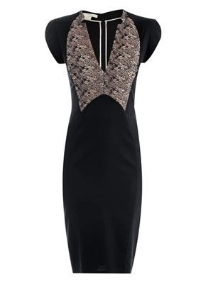 Lace-detail fitted dress