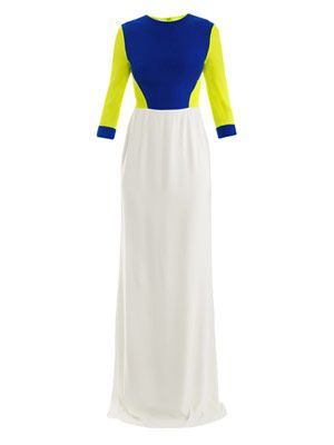 Tri-colour chiffon gown