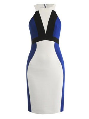 Tri-colour strap detail dress