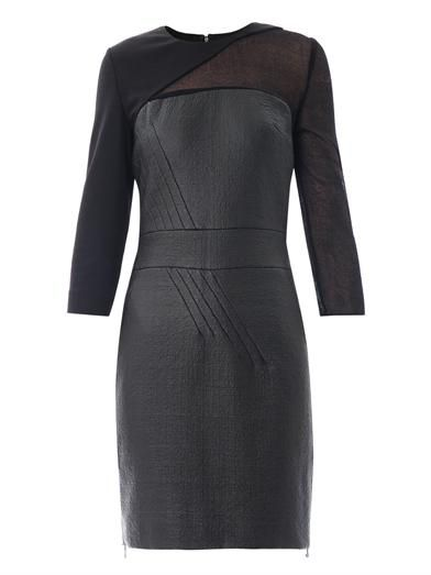 Antonio Berardi Sheer sleeve waxed-tweed fitted dress