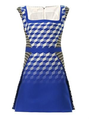 Contrast cube jacquard dress