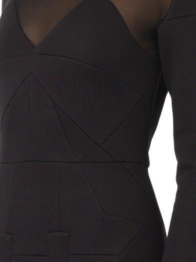 Antonio Berardi Sheer-panel kick-pleat skirt dress