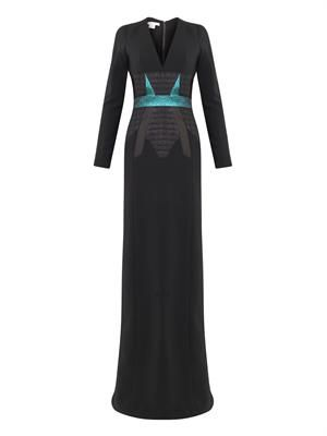 Jacquard-panel crepe gown