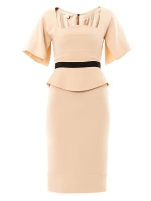 Nude-crepe tailored dress