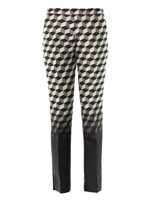 Ombré cube-jacquard trousers