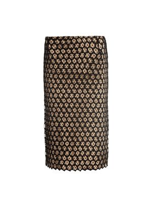 Honeycomb lace contrast slip skirt