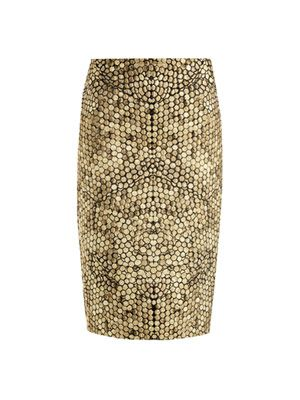 Honeycomb jacquard pencil skirt