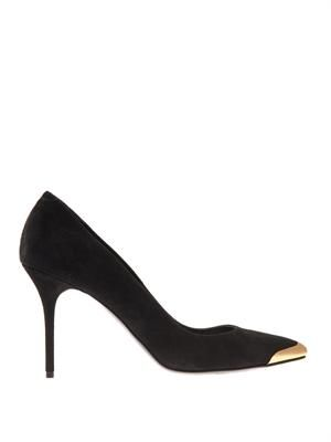 Metal toe-cap suede pumps