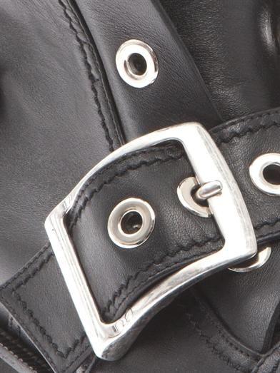 Alexander McQueen Buckled leather biker boots