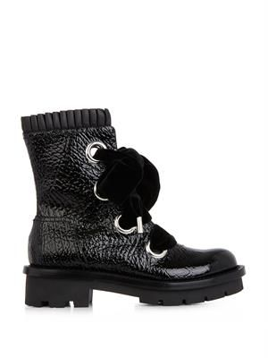 Popeline pleated leather biker boots