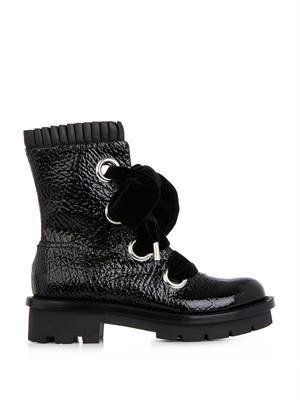 Popeline pleated leather biker boots