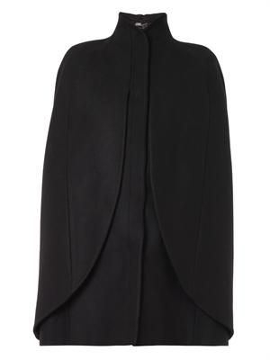 High-neck wool cape