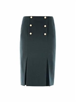 Pearl button wool-crepe skirt