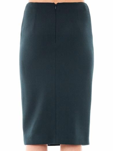 Alexander McQueen Pearl button wool-crepe skirt