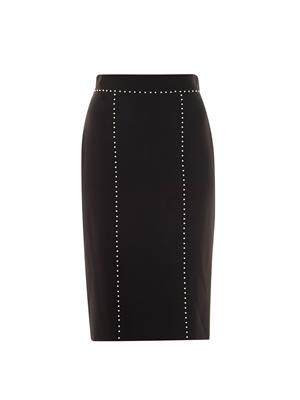 Pearl embellished pencil skirt