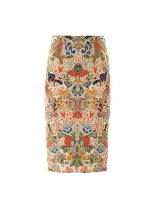 Floral-print silk-cotton skirt