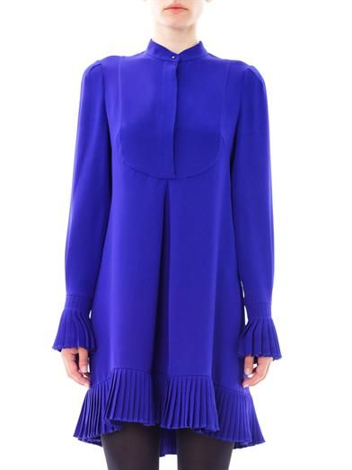 Alexander McQueen Pleated trim silk dress