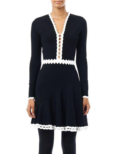 Alexander McQueen Cut-out contrast detail dress