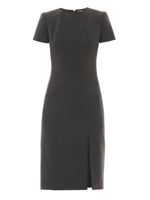 Wool-crepe shift dress