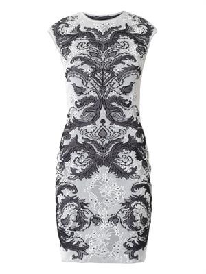 Spine lace-jacquard knit dress