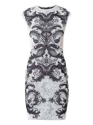 Spine lace-jacquard knit dress