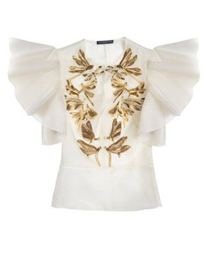 Dragonfly embroidered organza blouse