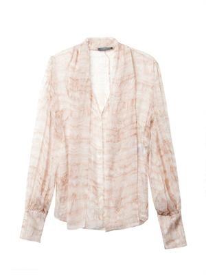 Ruffle-print silk blouse