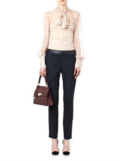 Alexander McQueen Ruffle-print silk blouse