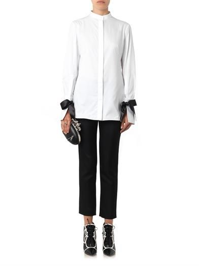 Alexander McQueen Bow-fastening cuffs cotton shirt