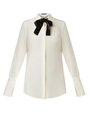 Contrast-bow silk blouse