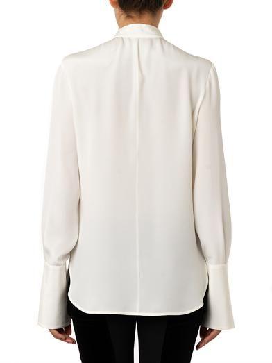 Alexander McQueen Contrast-bow silk blouse