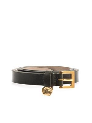 Skinny leather skull belt