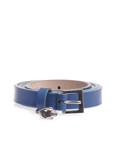 Alexander McQueen Skinny leather skull belt
