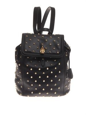 Padlock studded leather backpack