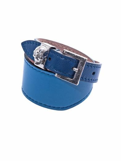 Alexander McQueen Bi-colour leather wrap bracelet