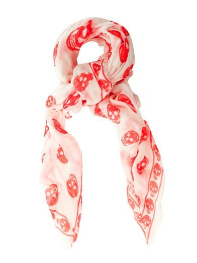 Alexander McQueen Skull-print fine-knit scarf